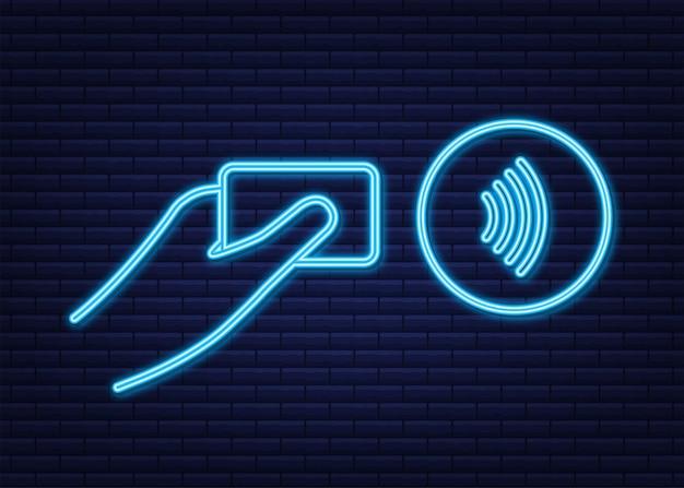 Logotipo de signo de pago inalámbrico sin contacto tecnología nfc comunicación de campo cercano señal de neón nfc