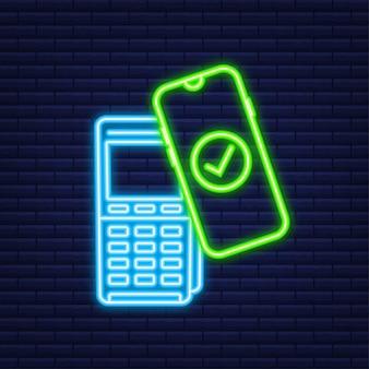 Logotipo de signo de pago inalámbrico sin contacto. tecnología nfc. icono de neón. ilustración vectorial.