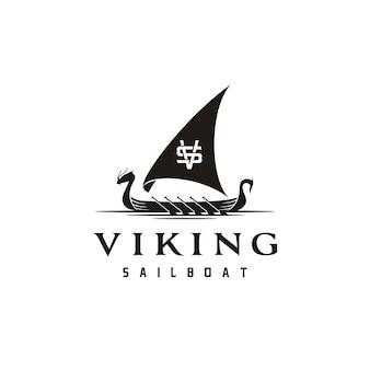 Logotipo de silueta de barco vikingo tradicional vintage con letra de iniciales vs sv vs