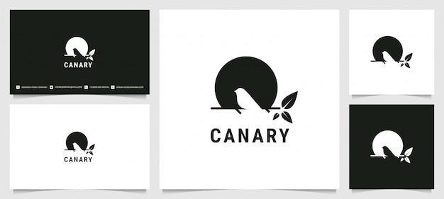 Logotipo de silueta canaria con tarjeta de visita