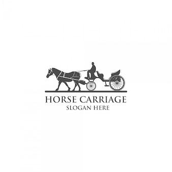 Logotipo de silueta de carro de caballo