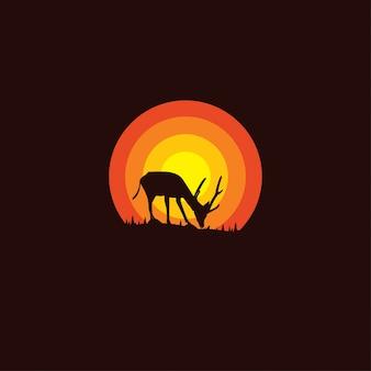 Logotipo de silueta de ciervo
