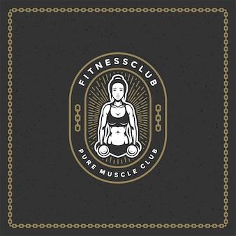 Logotipo de silueta femenina culturista