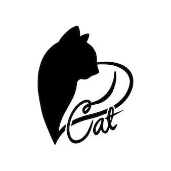 Logotipo de silueta gato amante. monograma de corazón y gato aislado sobre fondo blanco.