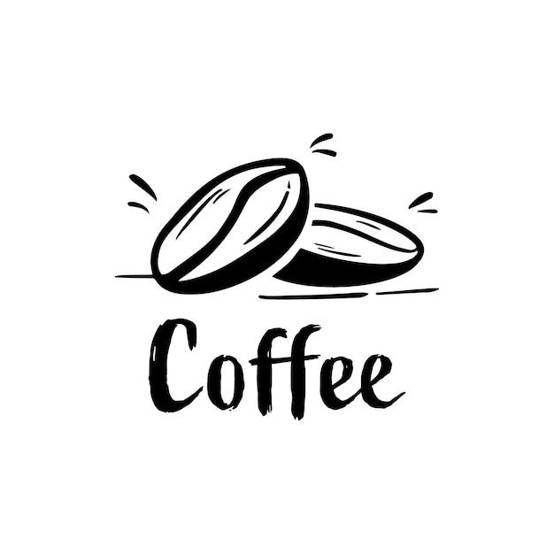 Logotipo de silueta de grano de café para bebida de café
