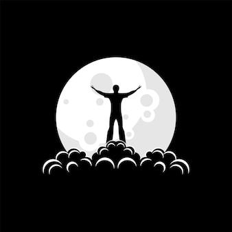 Logotipo de silueta de un hombre de pie en el vector de la luna