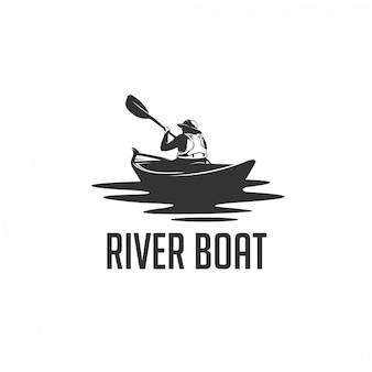 Logotipo de silueta de hombre río barco
