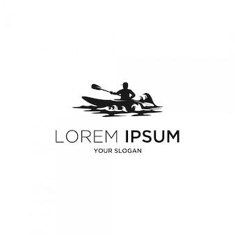 Logotipo de silueta de kayak de surf