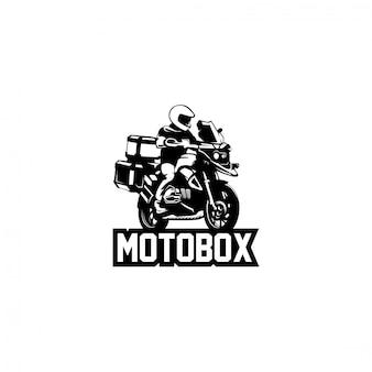 Logotipo de silueta de motocicleta y viajero de aventura
