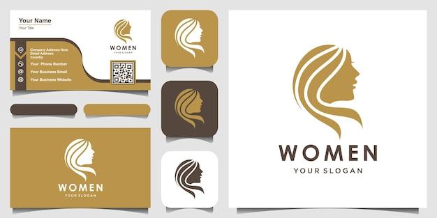 Logotipo de silueta mujer y diseño de tarjeta de visita logotipo de cara de cabeza aislado uso para spa de salón de belleza