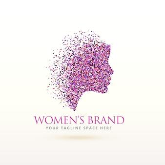 Logotipo de silueta de mujer con partículas