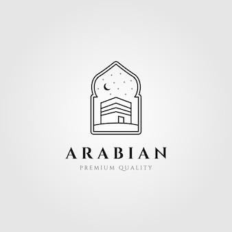 Logotipo de símbolo de arte de línea de kaaba árabe