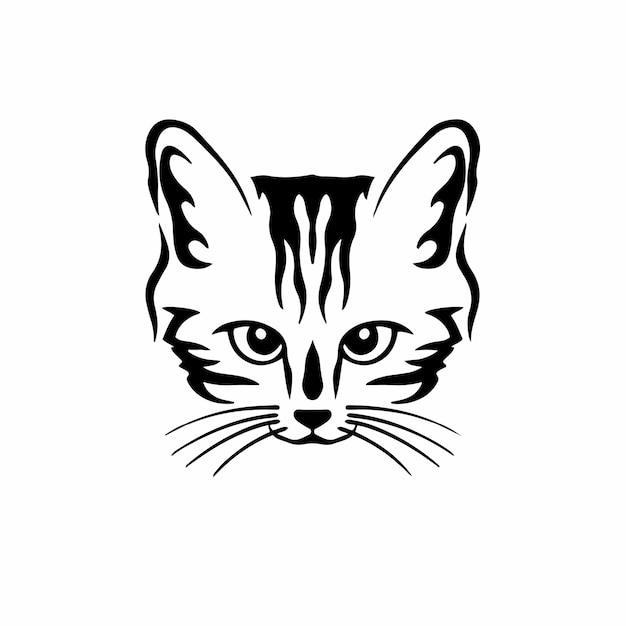 Logotipo del símbolo del gato, plantilla de diseño de tatuajes tribales, ilustración vectorial