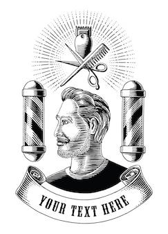 Logotipo y símbolo de peluquería dibujar a mano estilo de grabado vintage imágenes prediseñadas en blanco y negro aislado sobre fondo blanco