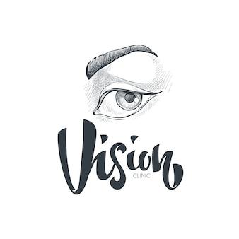 Logotipo, símbolos e iconos de visión y ojos dibujados a mano con composición de letras