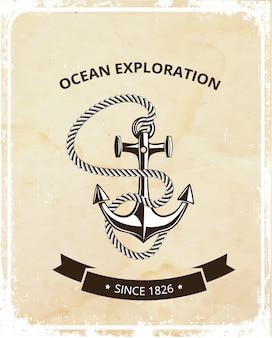 Logotipo de símbolos marítimos - ancla con cuerda y con cinta negra para texto.