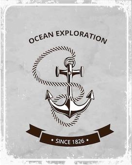 Logotipo de símbolos marítimos sobre un fondo grunge retro, ancla con cuerda y una pancarta con lugar para el texto.