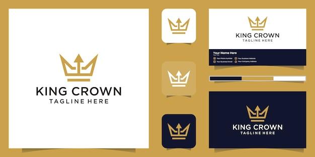 Logotipo simple y elegante de corona y flecha, símbolos de reinos, reyes y líderes, y tarjetas de visita.