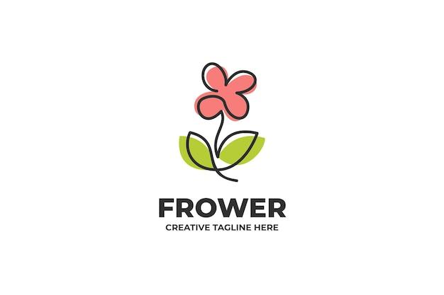 Logotipo simple y hermoso de una línea de flores