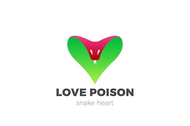 Logotipo de snake cobra. logotipo de citas de veneno amor infeliz en forma de corazón