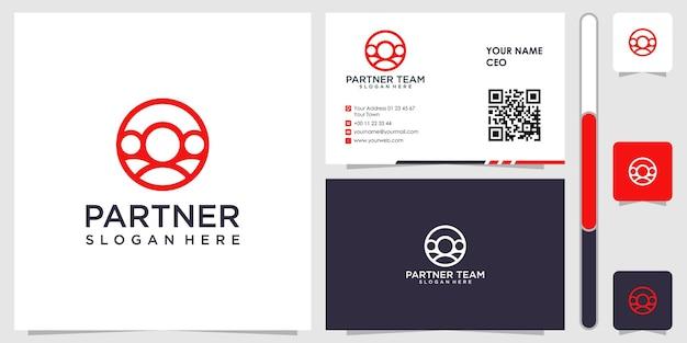 Logotipo de socio de personas con diseño de tarjeta de visita vector premium