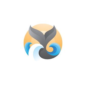 Logotipo de sol y mar de ola de cola de ballena