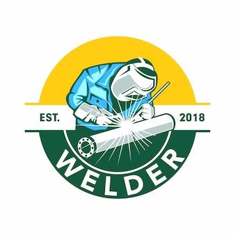 Logotipo de soldador, logotipo de soldador de emblema