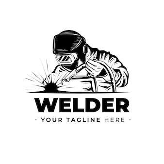Logotipo de soldador con plantilla de detalles