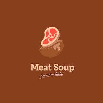 Logotipo de sopa de carne