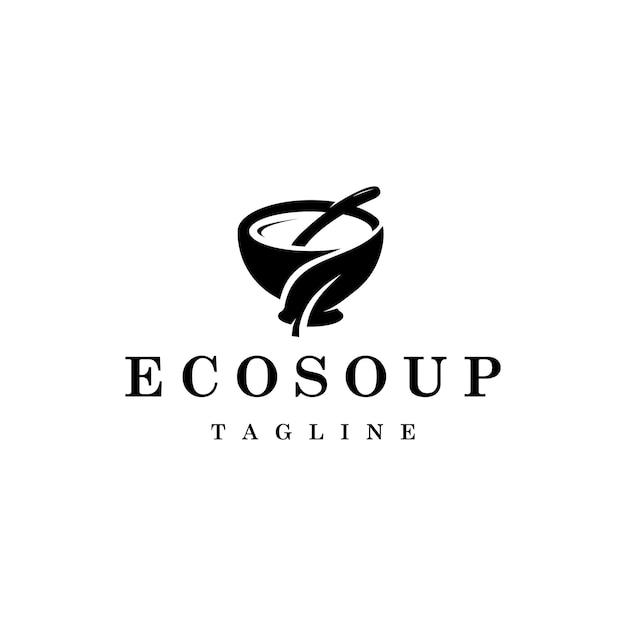 Logotipo de sopa con gráfico de diseño de hojas.
