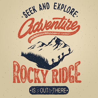 Logotipo de sorteo de mano vintage con elementos de caligrafía. cartel de aventura