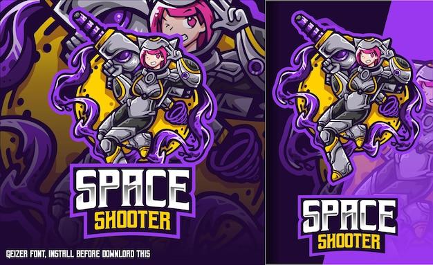 Logotipo de space shooter cat girl esport