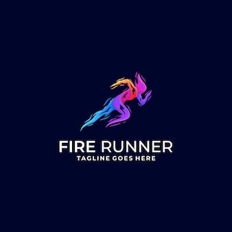 Logotipo de sprinter fire colorful