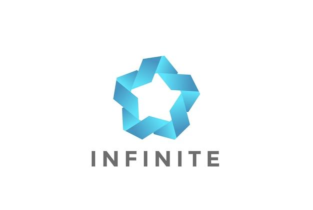 Logotipo de star union de cinco puntos aislado en blanco