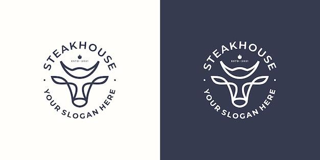 Logotipo de steak house con cabeza de toro. ilustración vectorial