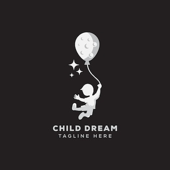 Logotipo del sueño del niño llegando a la plantilla de logotipo