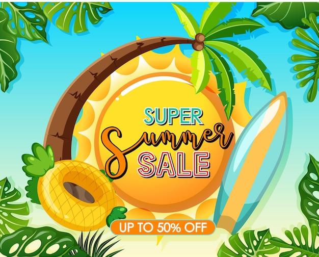 Logotipo de super summer sale con plantilla de banner de hojas tropicales