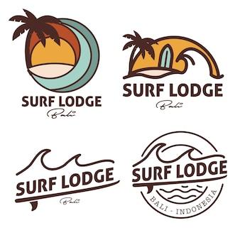 Logotipo de surf lodge insignia