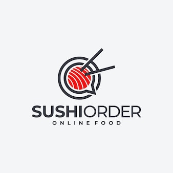 Logotipo de sushi creativo, diseño de logotipo de pedido de comida.