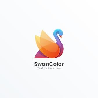 Logotipo de swan bird abstracto