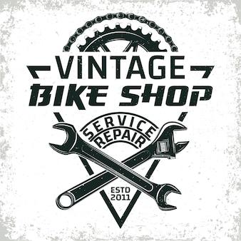 Logotipo de taller de reparación de bicicletas vintage