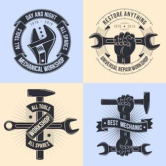Logotipo para taller de reparación. mecánica de emblemas. herramientas mecánicas.