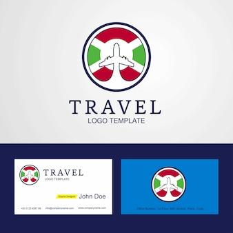 Logotipo y tarjeta de viaje burundi flog