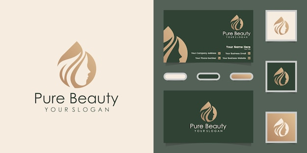 Logotipo y tarjeta de visita de peluquería de aceite y hojas de mujer