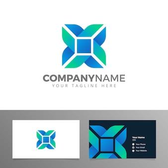 Logotipo y tarjeta de visita para el vector corporativo azul de la carta de la compañía x