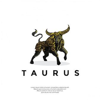 Logotipo de tauro zodiaco handrawn