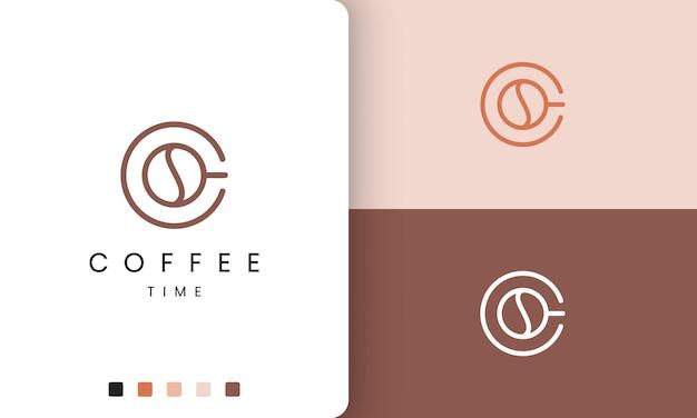 Logotipo de la taza de café en forma moderna y sencilla.
