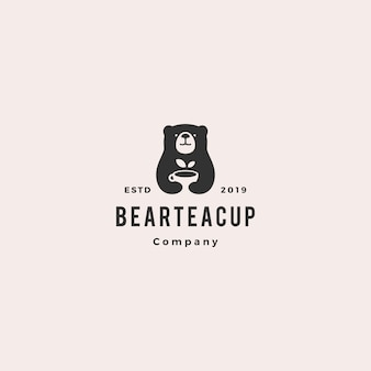 Logotipo de la taza de té del oso