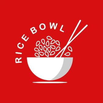 Logotipo de tazón de arroz con menú sabroso de palillos