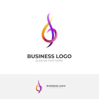 Logotipo de tecla de música, tecla de música y g, logotipo de combinación con estilo colorido 3d